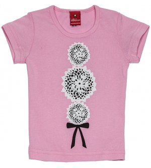 'DOILY ROCKER' Kids T-shirt | Girls pink delicate style t-shirt