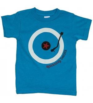 'SPINNING BEATS' Kids T-Shirt Short Sleeve - Neon Blue