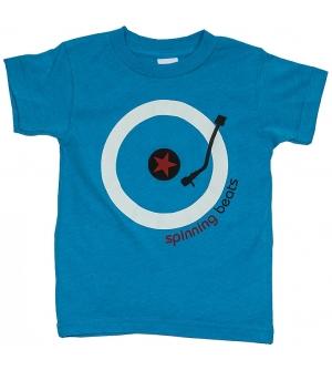 'SPINNING BEATS' Kids T-Shirt Short Sleeve - Neon Blue
