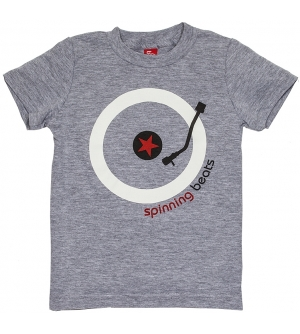 'SPINNING BEATS' Kids T-Shirt Short Sleeve - Heather Grey