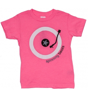 'SPINNING BEATS' Kids T-Shirt Short Sleeve - Neon Pink