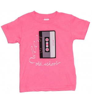 OLD SCHOOL Kids T-Shirt Short Sleeve- Neon Pink